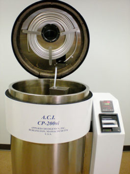 A vacuum insulated cryogenic processor used in deep cryogenic processing